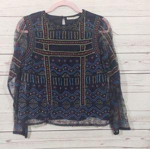 Zara Basic Embroidered Beaded Long Sleeve Shirt L